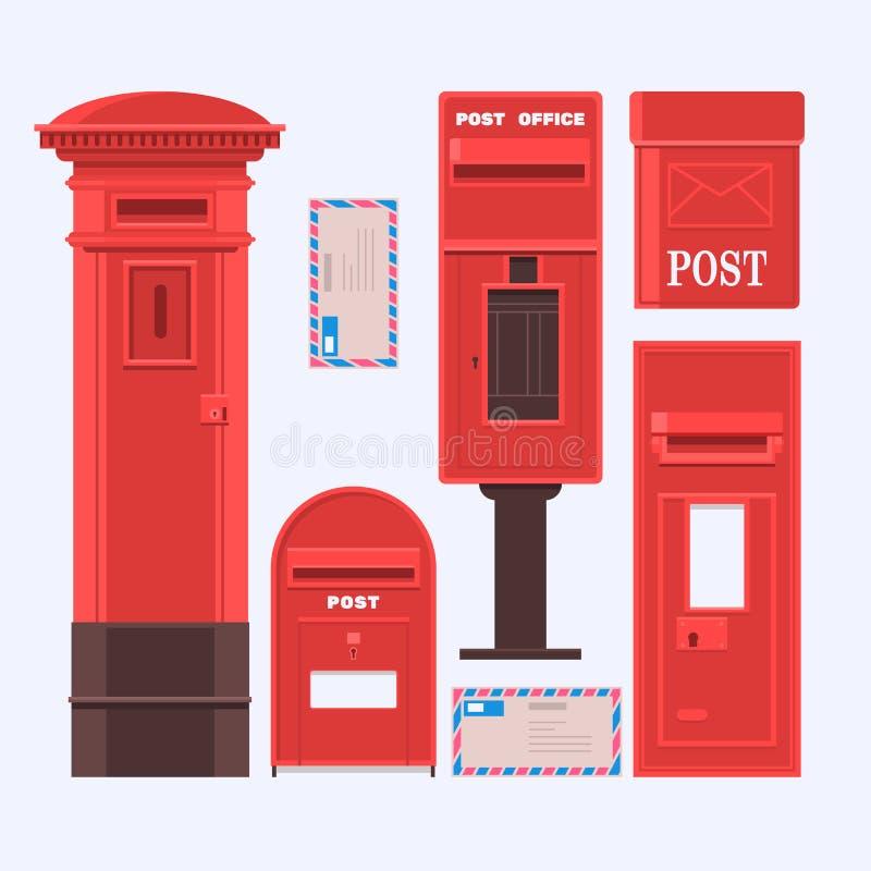 Vectorillustratie van geplaatste postdozen Uitstekende Engelse postbus vector illustratie