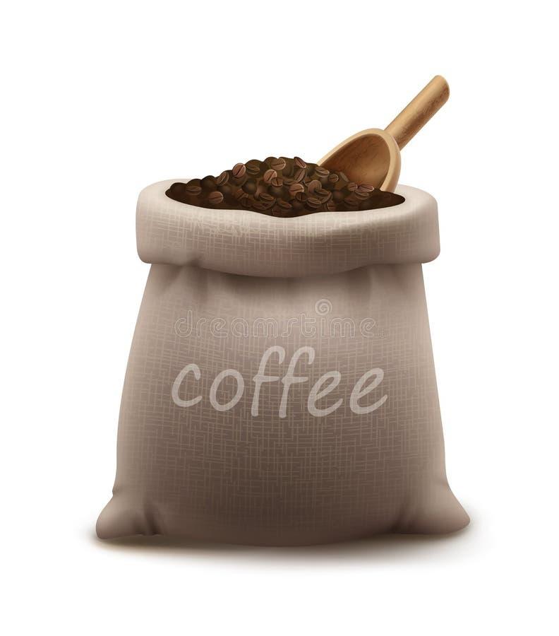 Vectorillustratie van geroosterde koffiebonen in jutezak of zak met houten die lepel op achtergrond wordt geïsoleerd vector illustratie