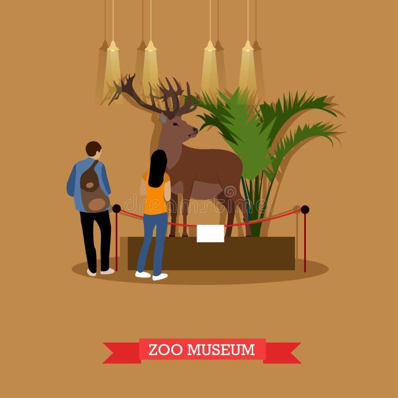Vectorillustratie van gevulde herten en bezoekers in zoölogisch museum royalty-vrije illustratie