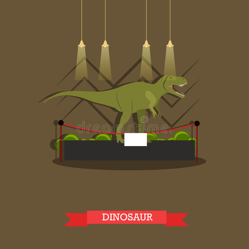 Vectorillustratie van gevulde tyrannosaurus in museum, vlakke stijl stock illustratie