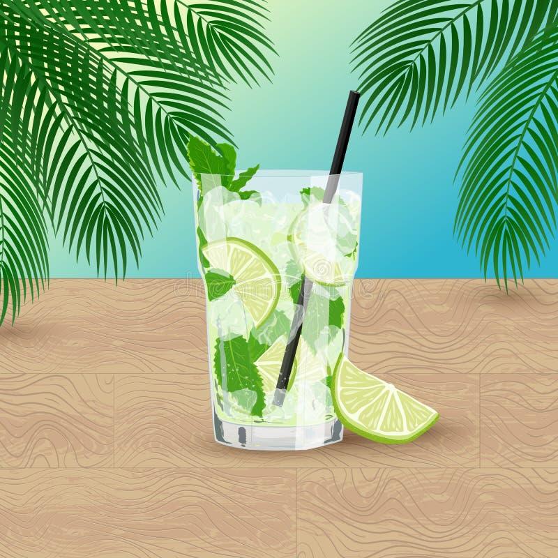 Vectorillustratie van glas van verse limonade of Mojito-cocktail vector illustratie