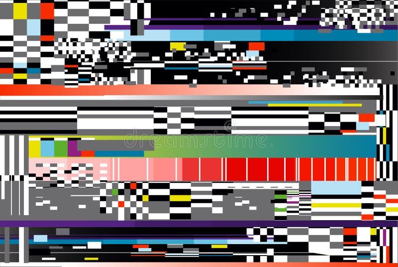Vectorillustratie van glitch achtergrond De fout van het computerscherm of het digitale abstracte ontwerp van het pixellawaai royalty-vrije illustratie