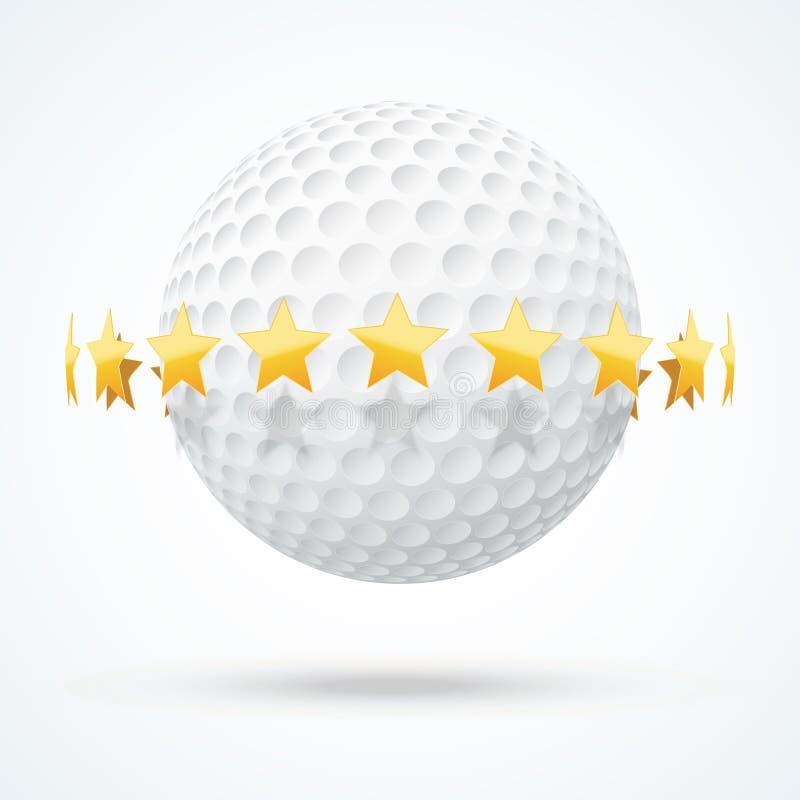 Vectorillustratie van golfbal met gouden sterren stock illustratie