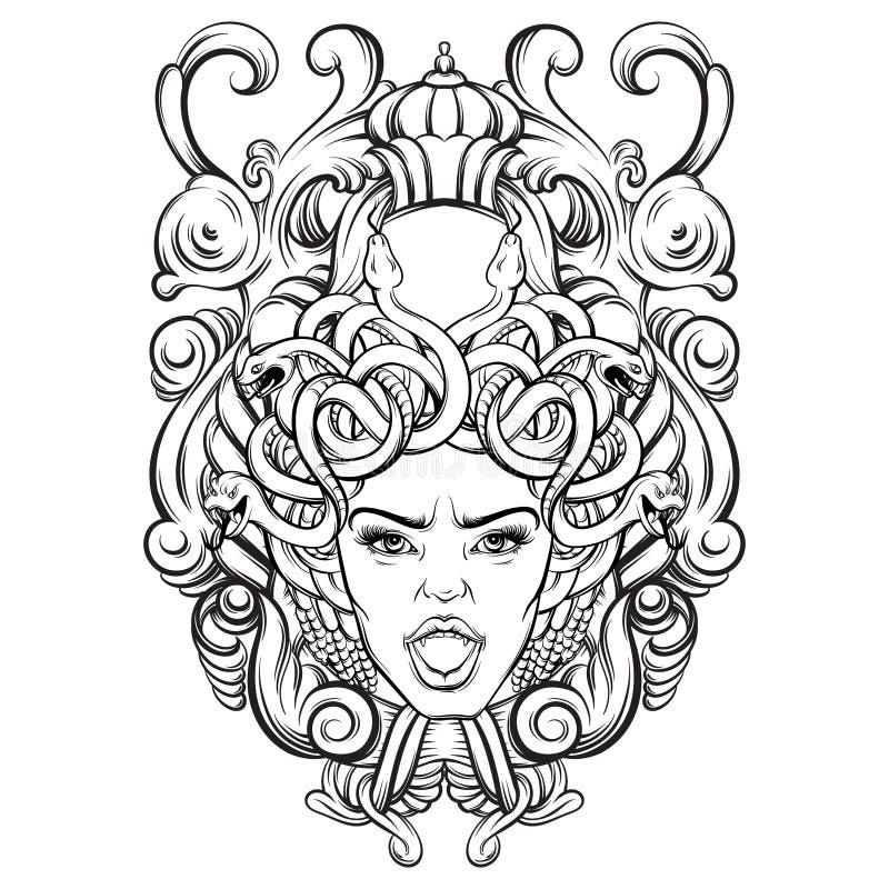 Vectorillustratie van gorgone met barok kader gemaakt tot in hand getrokken stijl vector illustratie