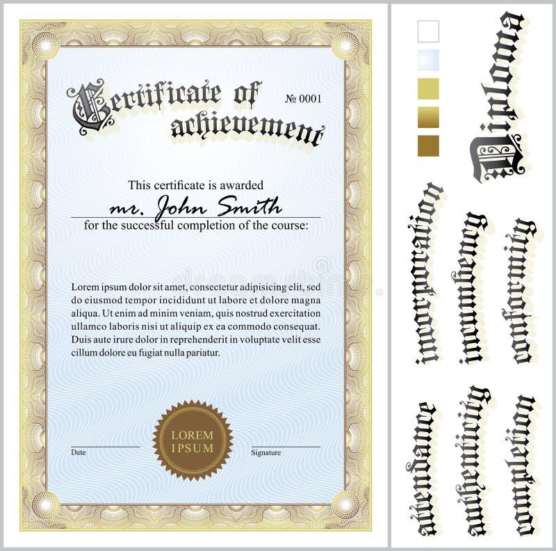 Vectorillustratie van gouden certificaat malplaatje royalty-vrije illustratie