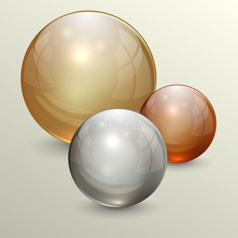 Vectorillustratie van gouden transparante bollen royalty-vrije illustratie