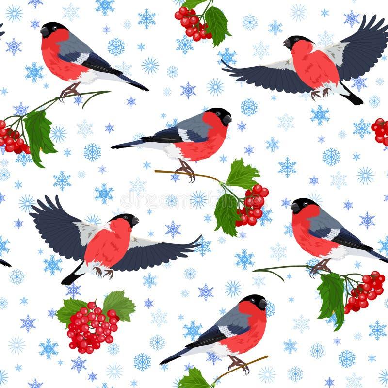 Vectorillustratie van goudvink, guelder-roze en sneeuwvlokken naadloos patroon stock illustratie