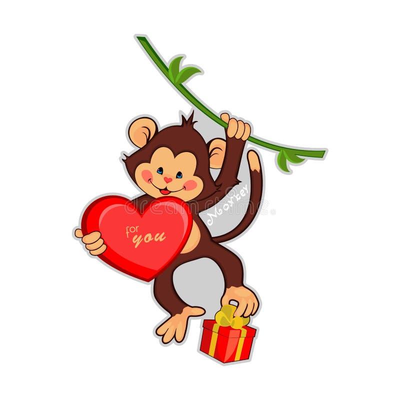 Vectorillustratie van grappige aap met groot stock illustratie