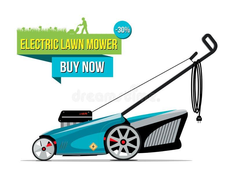 Vectorillustratie van gras-snijder met elektrische lagere maaimachine vector illustratie