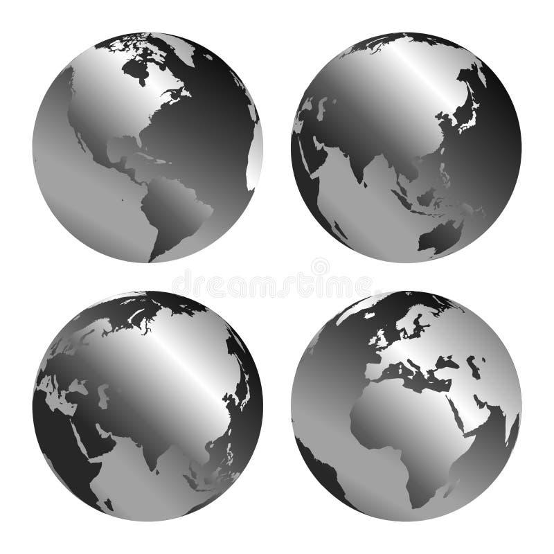 Vectorillustratie van grijze bolpictogrammen met verschillende geplaatste continenten stock illustratie