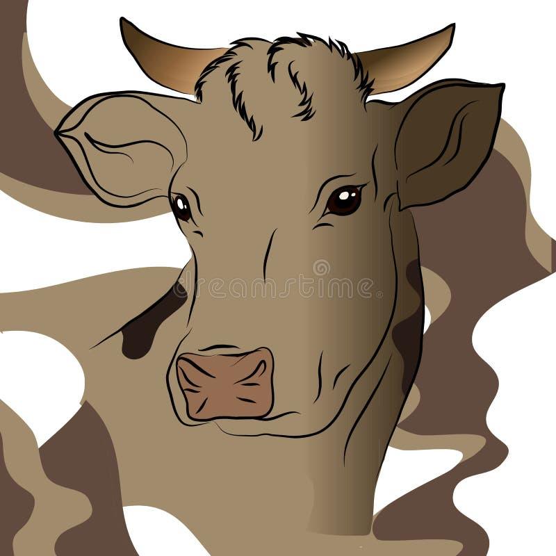 Vectorillustratie van grijze koe vector illustratie