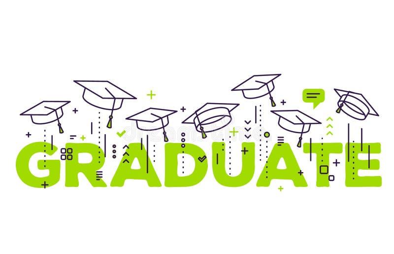 Vectorillustratie van groene woordgraduatie met gediplomeerde kappen vector illustratie