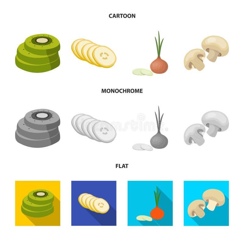 Vectorillustratie van groente en fruitembleem Inzameling van groente en voedsel vectorpictogram voor voorraad vector illustratie