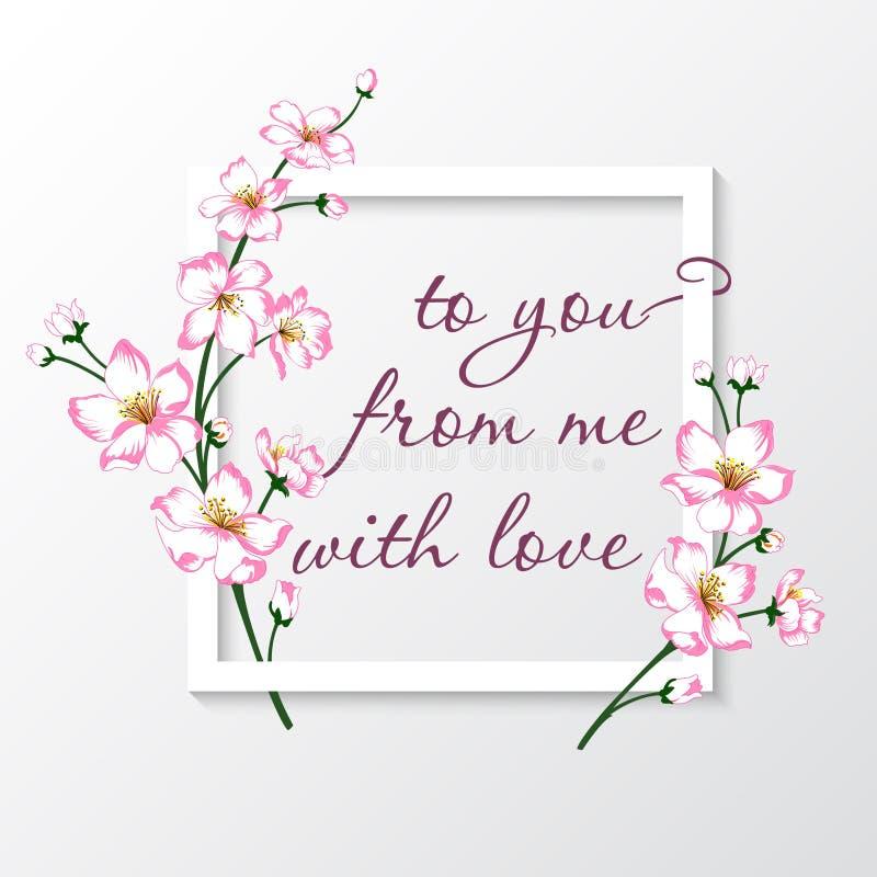 Vectorillustratie van groetkaart met roze bloesembloemen stock illustratie