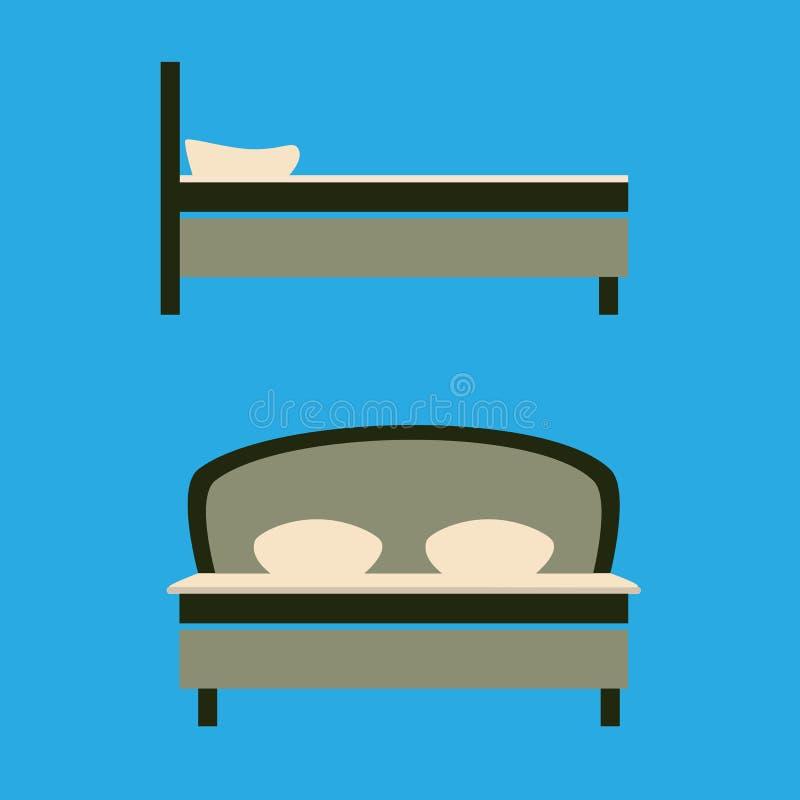 Vectorillustratie van groot bed voor twee of één persoon op een blauwe achtergrond Zijaanzicht en voorzijde Vlakke stijl vector illustratie