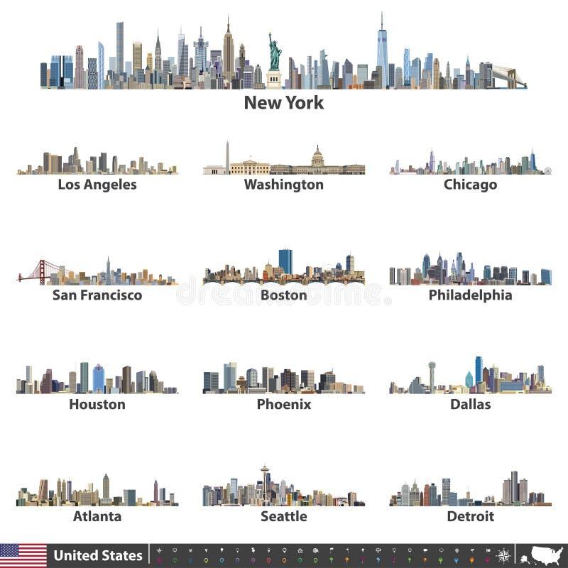 Vectorillustratie van grootste de stadshorizonnen van Verenigde Staten Navigatie, plaats en reispictogrammen; vlag en kaart van V vector illustratie