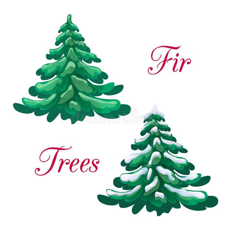Vectorillustratie van grote groene pluizige die spar en sneeuwsparreninzameling op witte achtergrond wordt geïsoleerd Kerstboom b stock illustratie