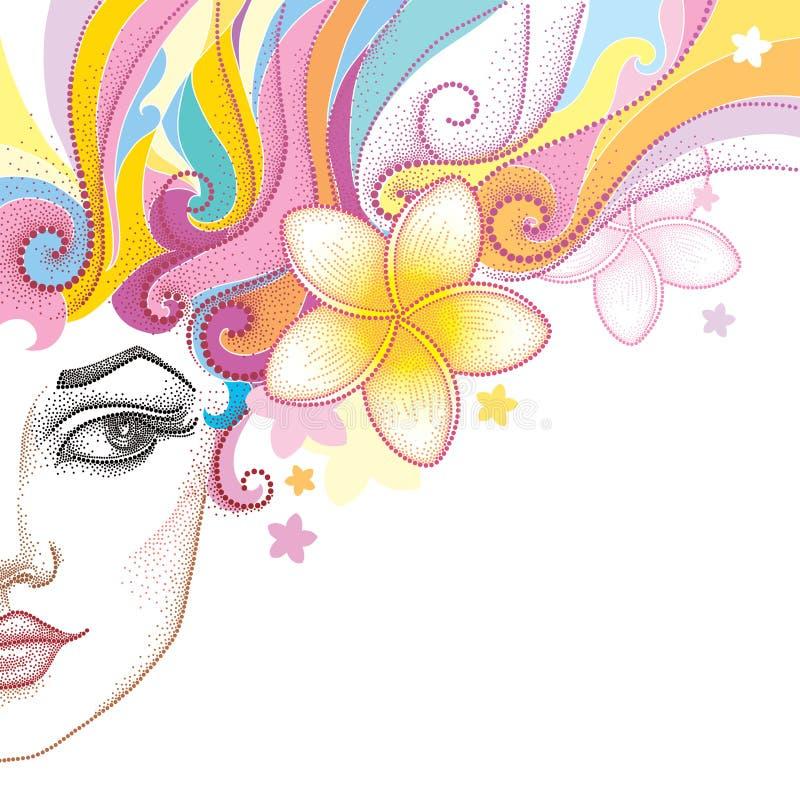 Vectorillustratie van half gestippeld mooi die meisjesgezicht met de bloem van Plumeria of Frangipani-op wit wordt geïsoleerd De  stock illustratie