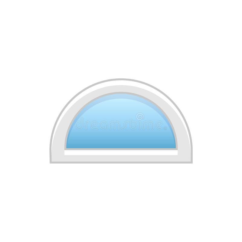 Vectorillustratie van half rond deuropenings vinylvenster Vlakke ico stock illustratie