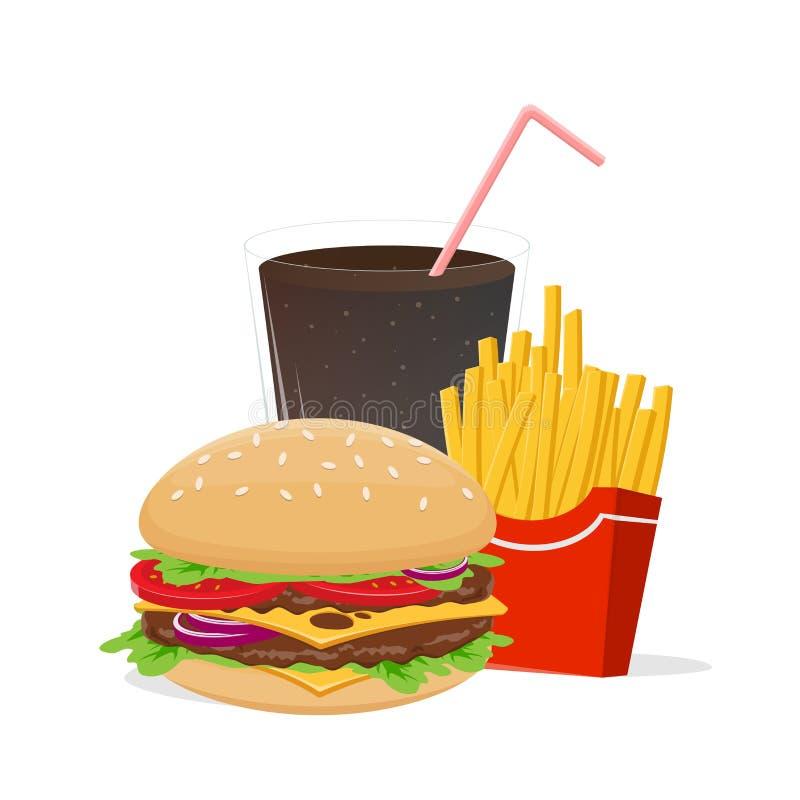 Vectorillustratie van hamburgerfrieten en kola vector illustratie