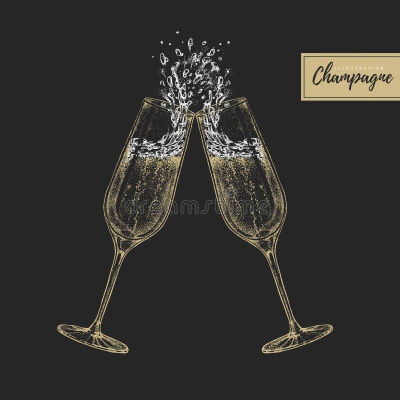 Vectorillustratie van hand die twee de clinking illustratie van champagneglassvector van hand trekken die twee clinking champagne stock illustratie