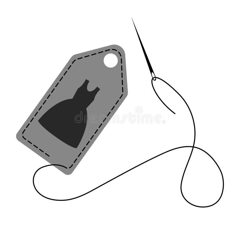 Vectorillustratie van hand - gemaakt die etiket met steek wordt verfraaid door draad en naald wordt gemaakt vector illustratie