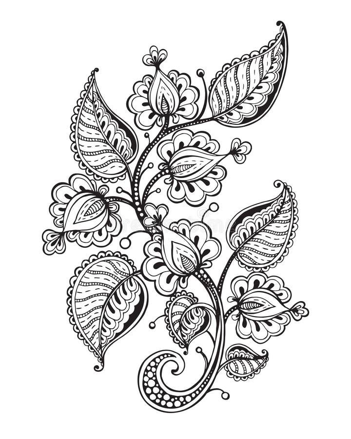 Vectorillustratie van hand getrokken buitensporige bloemtak en bladeren stock illustratie