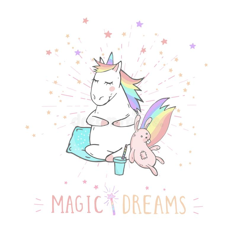 Vectorillustratie van hand getrokken leuke eenhoorn met konijntjesstuk speelgoed, koffie en tekst - MAGISCHE DROMEN met achtergro royalty-vrije illustratie