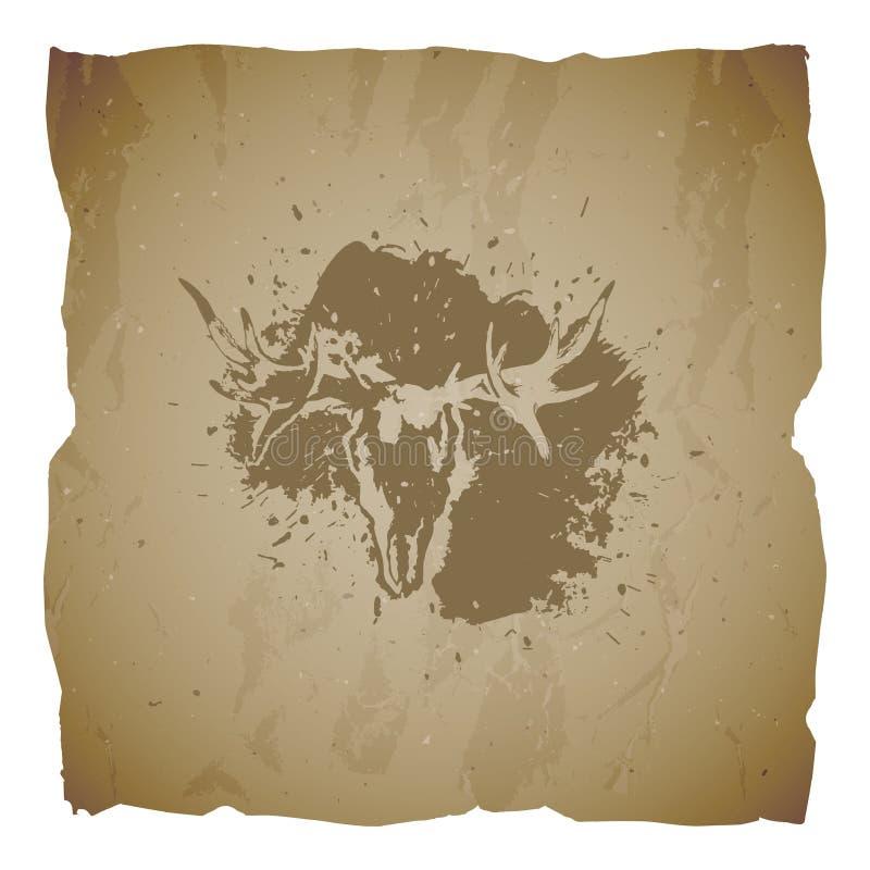 Vectorillustratie van hand getrokken schedelelanden en grunge elementen op oude gescheurde randenachtergrond Textuur van oud docu royalty-vrije illustratie