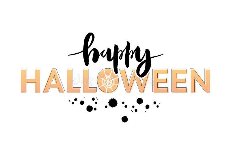 Vectorillustratie van Happy Halloween-frase met web stock illustratie