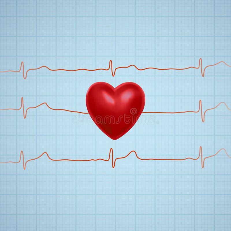 Vectorillustratie van hart met de lijn van de ecggrafiek royalty-vrije illustratie