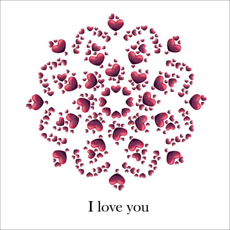 Vectorillustratie van hartenmandala stock afbeeldingen