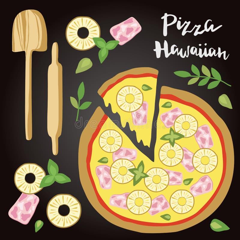 Vectorillustratie van Hawaiiaanse Pizza met ingrediënten vector illustratie