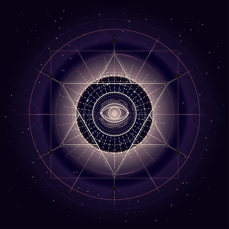 Vectorillustratie van Heilig of mysticussymbool op abstracte achtergrond Geometrisch die teken in lijnen wordt getrokken Gouden e vector illustratie