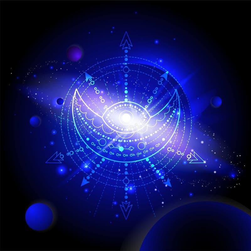 Vectorillustratie van Heilig of mysticussymbool tegen de ruimteachtergrond met planeten en sterren royalty-vrije illustratie
