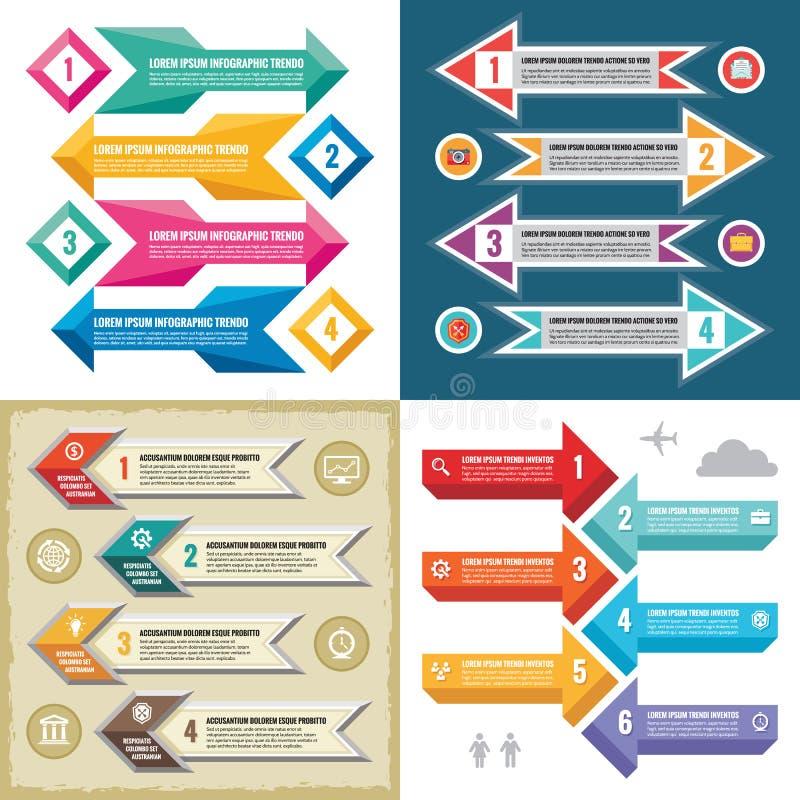 Vectorillustratie van het bedrijfs de infographic malplaatjesconcept Abstracte bannerreeks De lay-outinzameling van de reclamebev vector illustratie