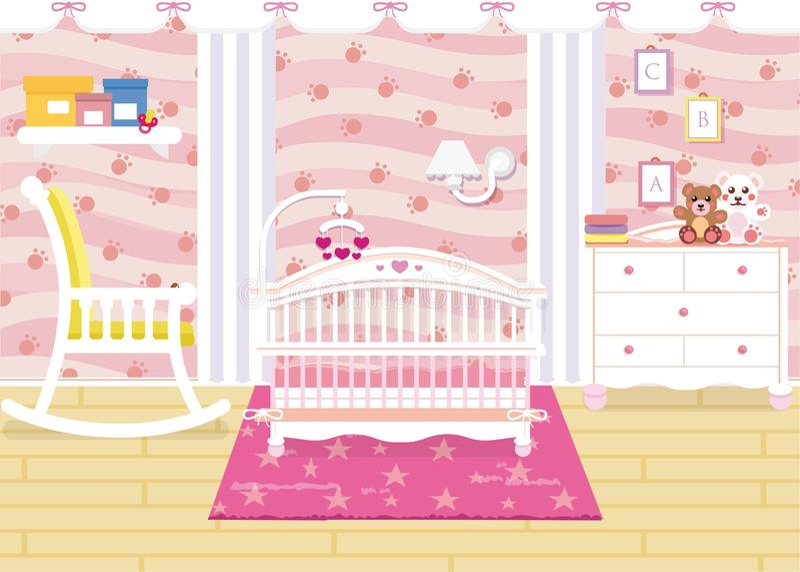 Vectorillustratie van het binnenland van de babyruimte met een plank, speelgoed, wieg, bedlijst, leunstoel Kinderens ruimte in ro vector illustratie