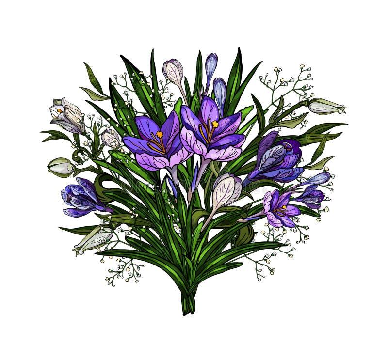 Vectorillustratie van het bloemenboeket van Pasen van lelies en krokussen met boog in uitstekende die stijl op wit wordt geïsolee vector illustratie