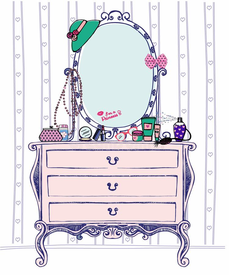 Vectorillustratie van het boudoir van de maatschappijdames met consolespiegel en de toebehoren van heel wat vrouwen Schetsladenka vector illustratie