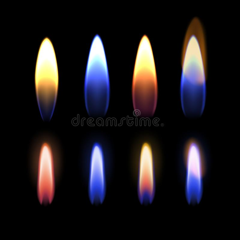 Vectorillustratie van het branden van vlam van gas, zink, kalium, strontium, natrium, en koper op zwarte achtergrond vector illustratie