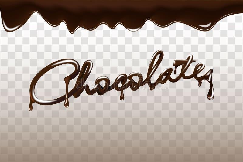 Vectorillustratie van het chocolade de hand getrokken 3D van letters voorziende ontwerp Vloeibare donkere die chocolade op transp royalty-vrije illustratie