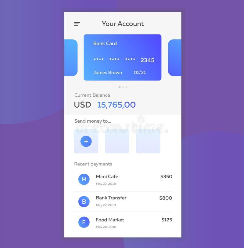 Vectorillustratie van het concept mobiele betalingen die de toepassing op uw smartphone gebruiken Online bankwezen, online royalty-vrije illustratie