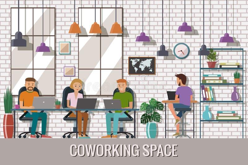 Vectorillustratie van het coworking van ruimte Werkende plaats, bureau Mensen die in het creatieve bureau werken Vlak Ontwerp vector illustratie