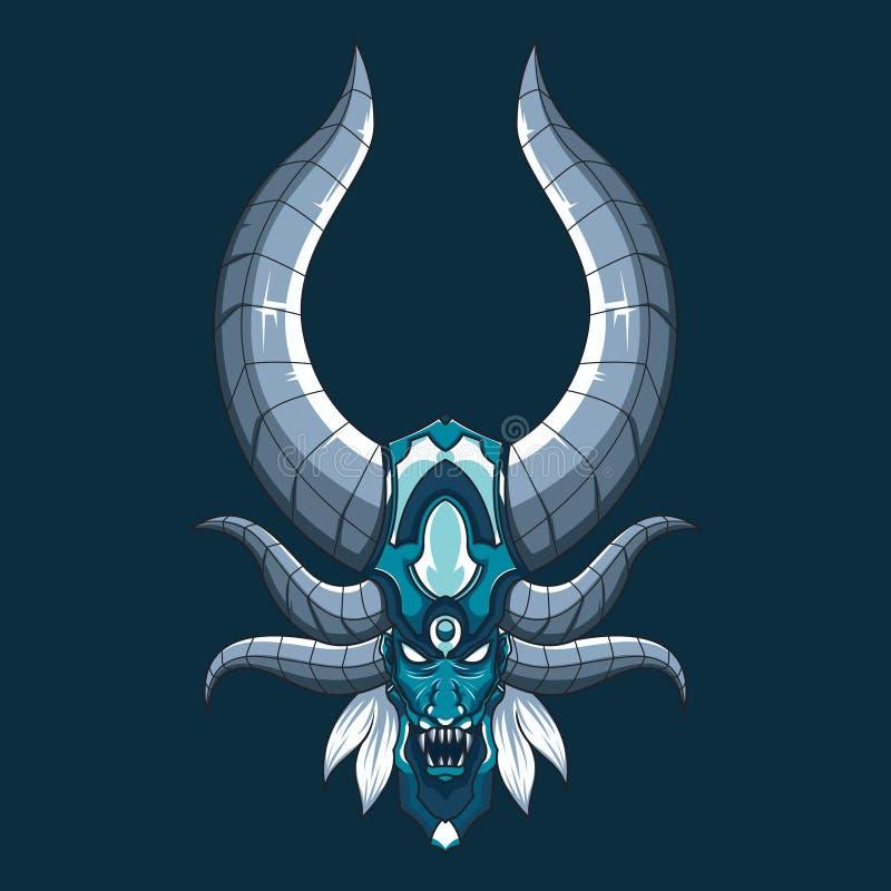 Vectorillustratie van het draak de duivelse monster Mythische demon hoofdillustratie met hoornen en hoektanden vector illustratie