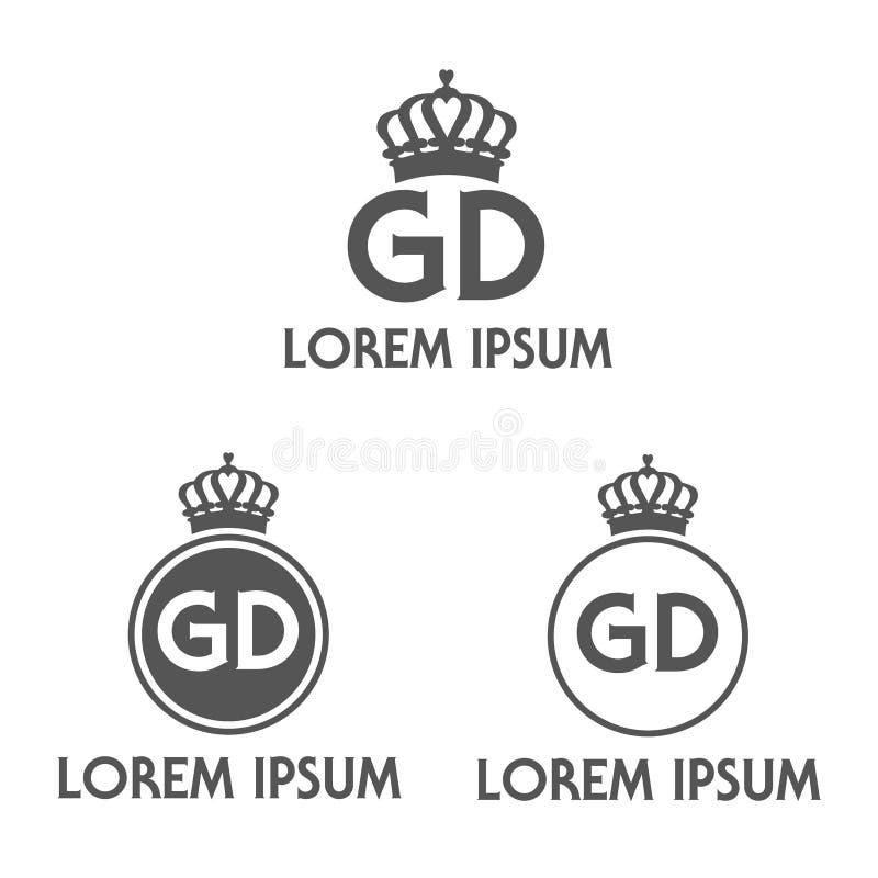 Vectorillustratie van het embleem van het manierbedrijf met cirkelbrieven g D en kroon stock illustratie