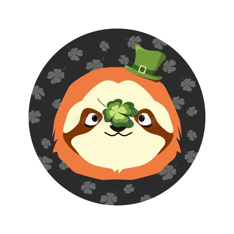 Vectorillustratie van het hoofd van de luiaard met de groene hoed bij de hoogste en gelukkige klavertjevier op de neus voor St Pa stock fotografie