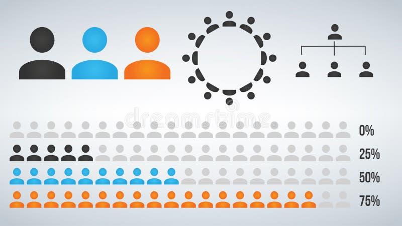 Vectorillustratie van het infographic element, de statistiek en de hiërarchie van het gebruikerspictogram royalty-vrije illustratie