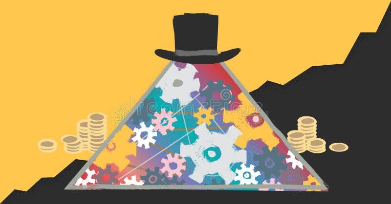 Vectorillustratie van het kapitalisme de moderne concept met abstracte piramide bedrijfshiërarchie en marktoverheersing stock illustratie