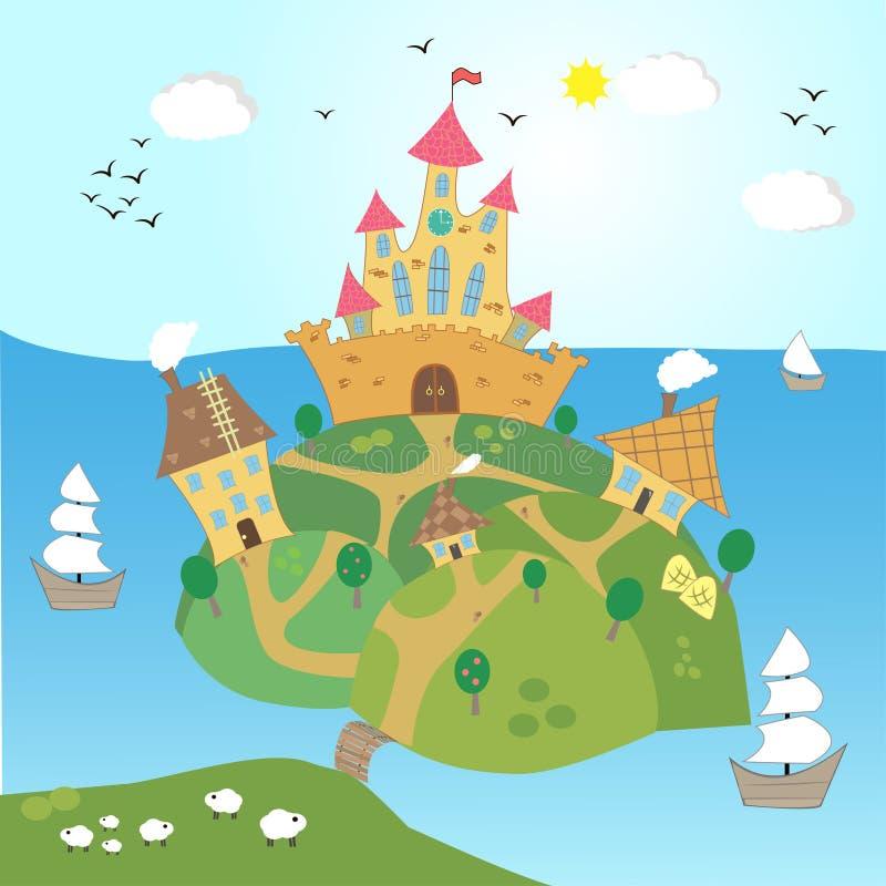 Vectorillustratie van het kasteel op een heuvel stock illustratie