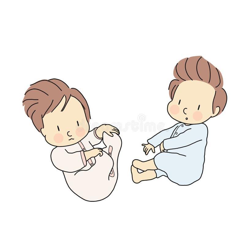 Vectorillustratie van het kleine Zuigelingen leggen Pasgeboren, baby, de tekening van het Beeldverhaalkarakter vector illustratie